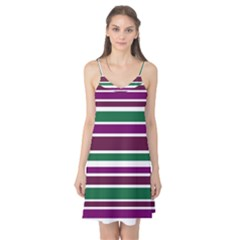 Purple Green Stripes Camis Nightgown by BrightVibesDesign