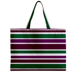 Purple Green Stripes Zipper Mini Tote Bag by BrightVibesDesign