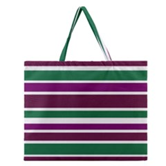 Purple Green Stripes Zipper Large Tote Bag by BrightVibesDesign