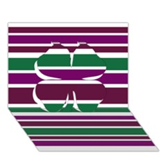 Purple Green Stripes Clover 3D Greeting Card (7x5)  by BrightVibesDesign