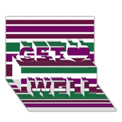 Purple Green Stripes Get Well 3d Greeting Card (7x5)  by BrightVibesDesign