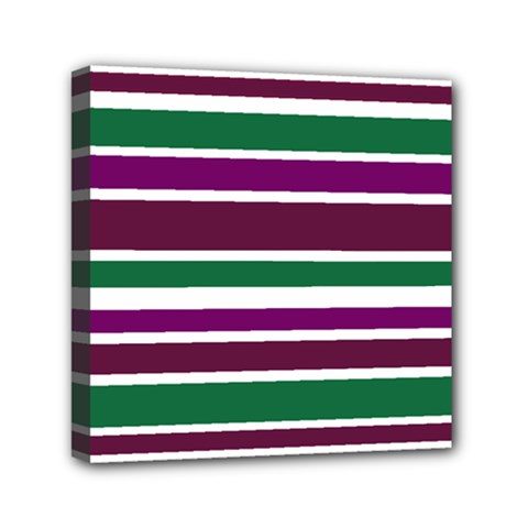 Purple Green Stripes Mini Canvas 6  X 6  by BrightVibesDesign