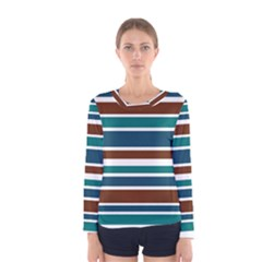 Teal Brown Stripes Women s Long Sleeve Tee by BrightVibesDesign