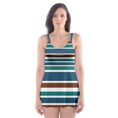 Teal Brown Stripes Skater Dress Swimsuit by BrightVibesDesign