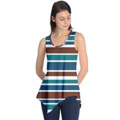 Teal Brown Stripes Sleeveless Tunic by BrightVibesDesign