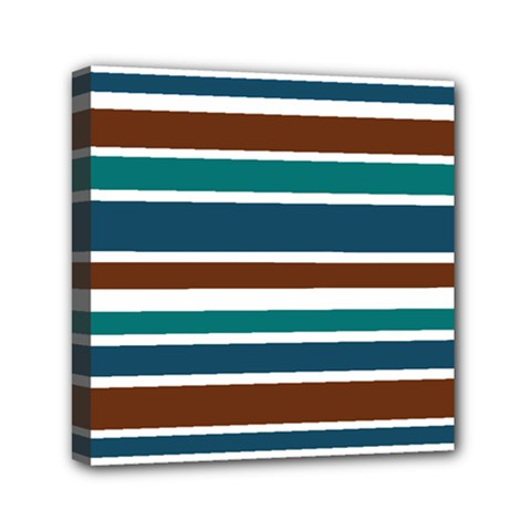 Teal Brown Stripes Mini Canvas 6  X 6  by BrightVibesDesign