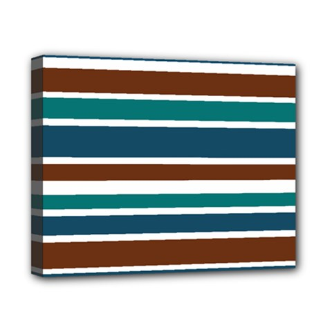 Teal Brown Stripes Canvas 10  X 8  by BrightVibesDesign