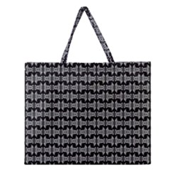 Black White Tiki Pattern Zipper Large Tote Bag by BrightVibesDesign