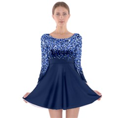 Blue Glitter Rain Long Sleeve Skater Dress by KirstenStar