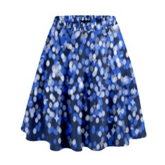 Blue Glitter Rain High Waist Skirt by KirstenStar