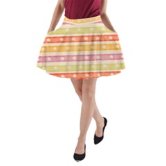 Watercolor Stripes Background With Stars A Line Pocket Skirt by TastefulDesigns