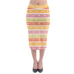 Watercolor Stripes Background With Stars Midi Pencil Skirt by TastefulDesigns