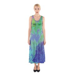 Green Blue Pink Color Splash Sleeveless Maxi Dress by BrightVibesDesign