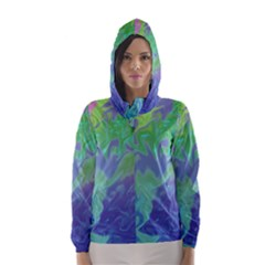 Green Blue Pink Color Splash Hooded Wind Breaker (women) by BrightVibesDesign