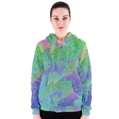 Green Blue Pink Color Splash Women s Zipper Hoodie by BrightVibesDesign