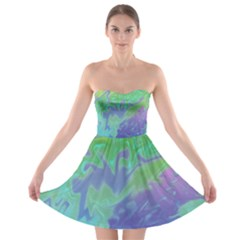 Green Blue Pink Color Splash Strapless Dresses by BrightVibesDesign