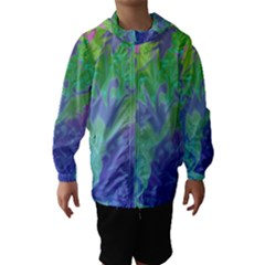 Green Blue Pink Color Splash Hooded Wind Breaker (Kids) by BrightVibesDesign