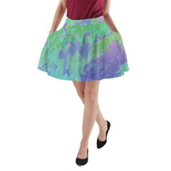 Green Blue Pink Color Splash A Line Pocket Skirt by BrightVibesDesign