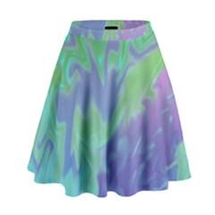 Green Blue Pink Color Splash High Waist Skirt by BrightVibesDesign