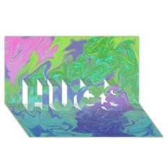 Green Blue Pink Color Splash Hugs 3d Greeting Card (8x4)  by BrightVibesDesign