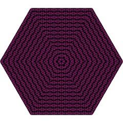 Pink Black Retro Tiki Pattern Mini Folding Umbrellas by BrightVibesDesign