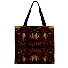 Fantasy Flowers And Leather In A World Of Harmony Zipper Grocery Tote Bag by pepitasart