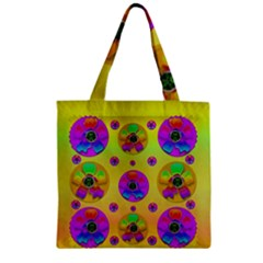 Floral Love And Why Not In Neon Zipper Grocery Tote Bag