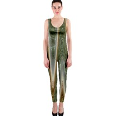 Green Brown Zigzag Onepiece Catsuit by BrightVibesDesign