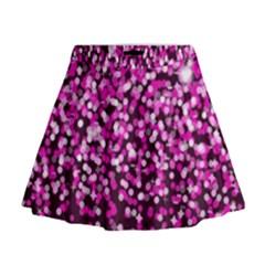 Pink Glitter Rain Mini Flare Skirt by KirstenStar