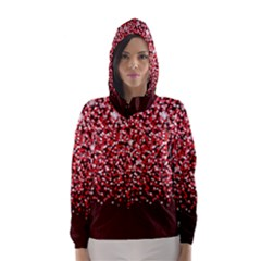 Red Glitter Rain Hooded Wind Breaker (women) by KirstenStar