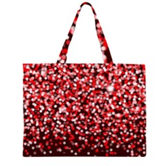 Red Glitter Rain Large Tote Bag by KirstenStar