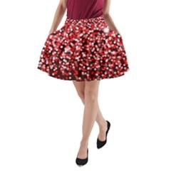Red Glitter Rain A Line Pocket Skirt by KirstenStar