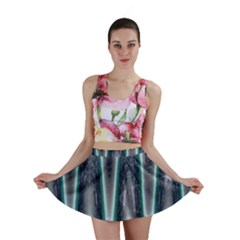 Blue Turquoise Zigzag Pattern Mini Skirt by BrightVibesDesign