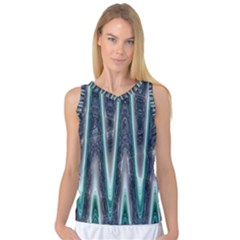 Blue Turquoise Zigzag Pattern Women s Basketball Tank Top by BrightVibesDesign