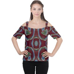 Fancy Maroon Blue Design Women s Cutout Shoulder Tee by BrightVibesDesign