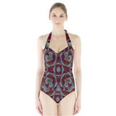 Fancy Maroon Blue Design Women s Halter One Piece Swimsuit by BrightVibesDesign