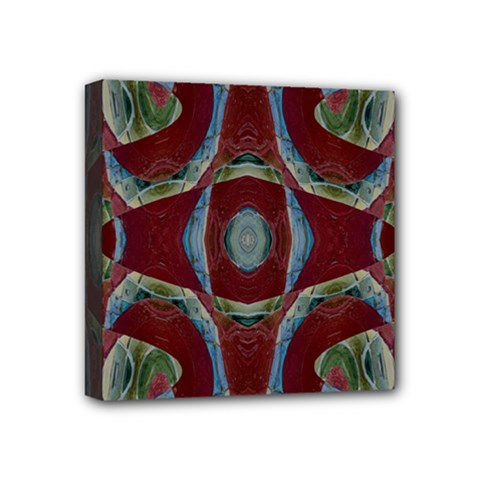 Fancy Maroon Blue Design Mini Canvas 4  X 4  by BrightVibesDesign