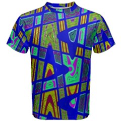 Bright Blue Mod Pop Art  Men s Cotton Tee by BrightVibesDesign