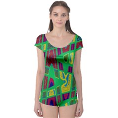 Bright Green Mod Pop Art Boyleg Leotard (ladies) by BrightVibesDesign