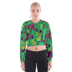 Bright Green Mod Pop Art Women s Cropped Sweatshirt by BrightVibesDesign