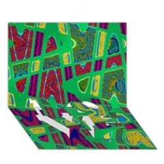 Bright Green Mod Pop Art Love Bottom 3d Greeting Card (7x5)  by BrightVibesDesign
