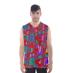 Bright Red Mod Pop Art Men s Basketball Tank Top by BrightVibesDesign
