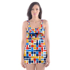 Colorful shapes                                  Skater Dress Swimsuit by LalyLauraFLM