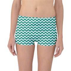 Emerald Green & White Zigzag Pattern Reversible Boyleg Bikini Bottoms by Zandiepants
