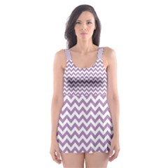 Lilac Purple & White Zigzag Pattern Skater Dress Swimsuit by Zandiepants