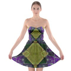 Purple Yellow Stone Abstract Strapless Dresses by BrightVibesDesign