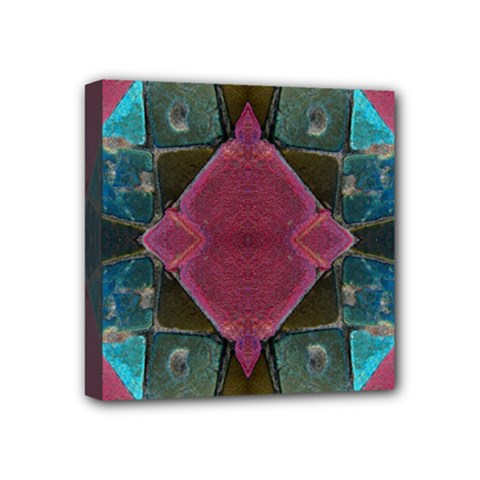 Pink Turquoise Stone Abstract Mini Canvas 4  X 4  by BrightVibesDesign