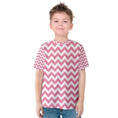 Soft Pink & White Zigzag Pattern Kid s Cotton Tee by Zandiepants