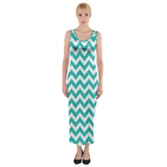 Turquoise & White Zigzag Pattern Fitted Maxi Dress by Zandiepants