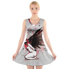 Dominance V-Neck Sleeveless Skater Dress